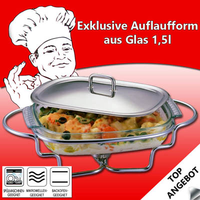 glas auflaufform edelstahldeckel untergestell speisenw rmer lasagne eckig br ter ebay. Black Bedroom Furniture Sets. Home Design Ideas